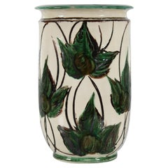 Huge Herman A Kähler Ceramic Floor Vase with Green Leaves, Early 20th Century