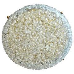 Huge Hillebrand Brass Textured Murano Glass Flush Mount Light Venini Style 1960s