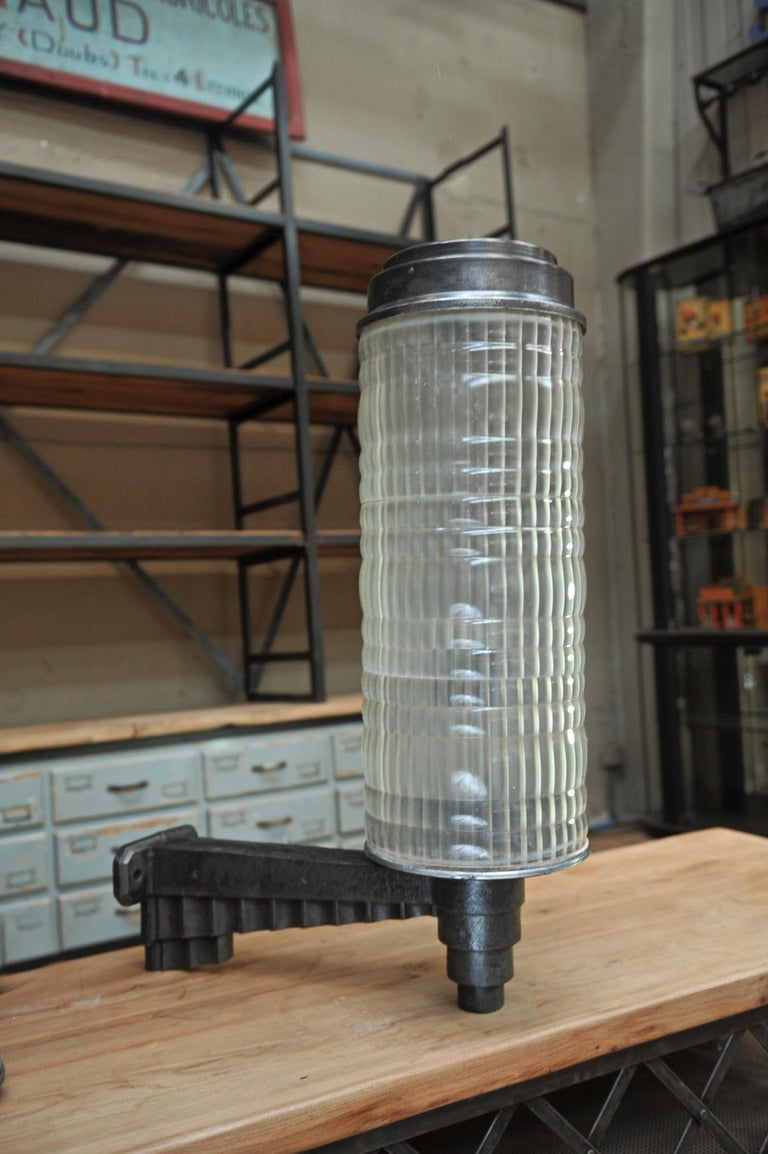 Huge Holophane Cast Iron and Prismatic Glass Hotel Wall Light Sconce, circa 1925 For Sale 4