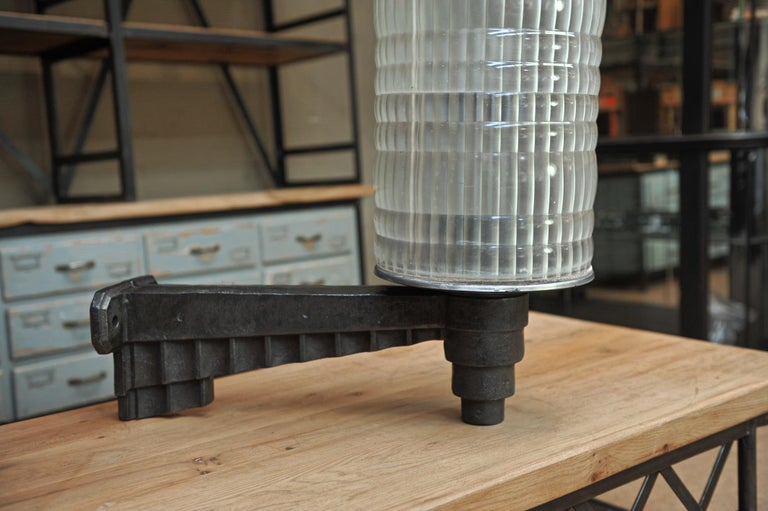 Huge Holophane Cast Iron and Prismatic Glass Hotel Wall Light Sconce, circa 1925 For Sale 2