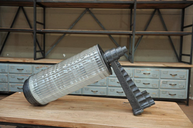Huge Holophane Cast Iron and Prismatic Glass Hotel Wall Light Sconce, circa 1925 For Sale 3