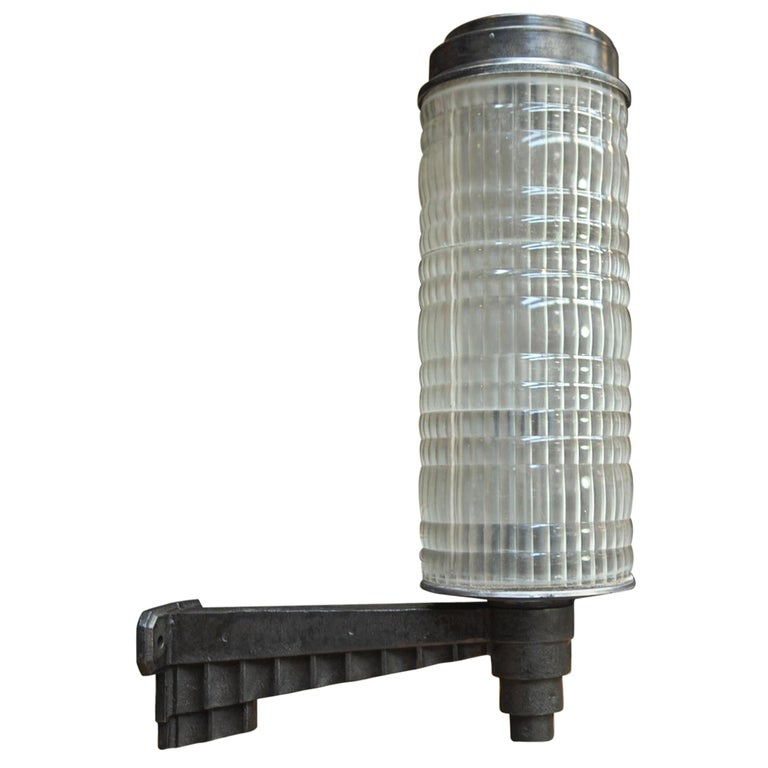 Huge Holophane Cast Iron and Prismatic Glass Hotel Wall Light Sconce, circa 1925 For Sale