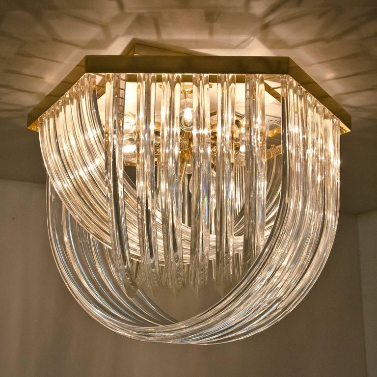 Huge Impressive Venini Flush Mount, Curved Crystal Glass and Gilt Brass, Italy For Sale 10