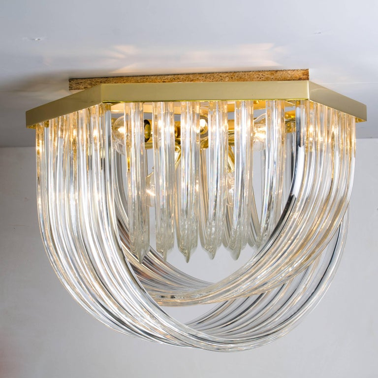 Huge Impressive Venini Flush Mount, Curved Crystal Glass and Gilt Brass, Italy For Sale 1