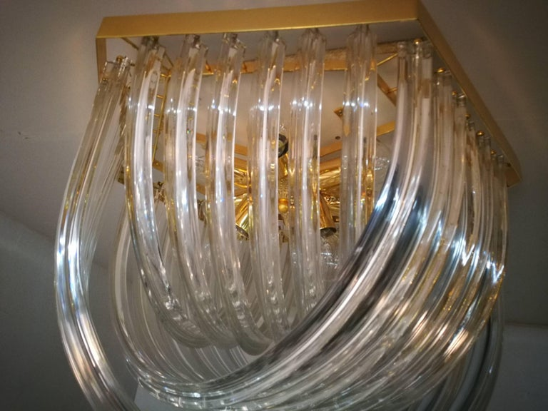 Huge Impressive Venini Flush Mount, Curved Crystal Glass and Gilt Brass, Italy For Sale 2