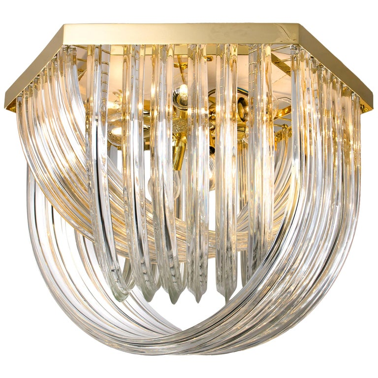 Huge Impressive Venini Flush Mount, Curved Crystal Glass and Gilt Brass, Italy For Sale