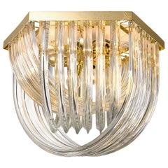 Huge Impressive Venini Flushmount, Curved Crystal Glass and Gilt Brass, Italy