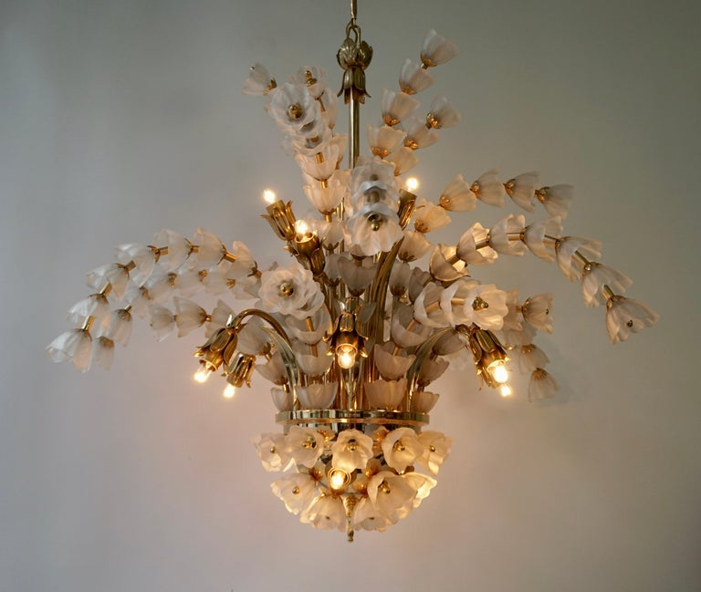 Beautiful large Italian brass chandelier with 160 Murano glass flowers.