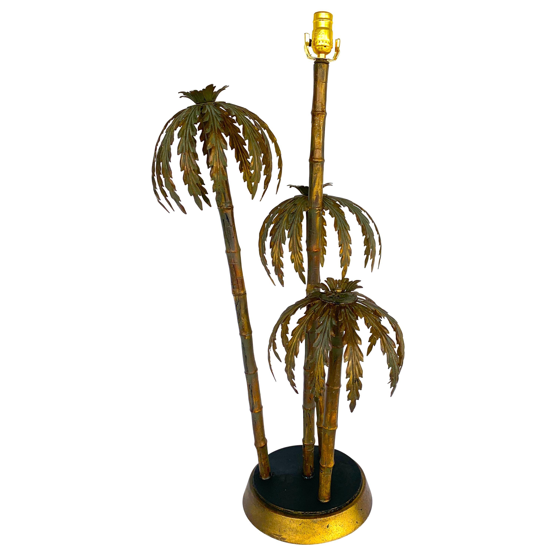 Huge Italian Gilt Metal Triple Palm Tree Table Lamp