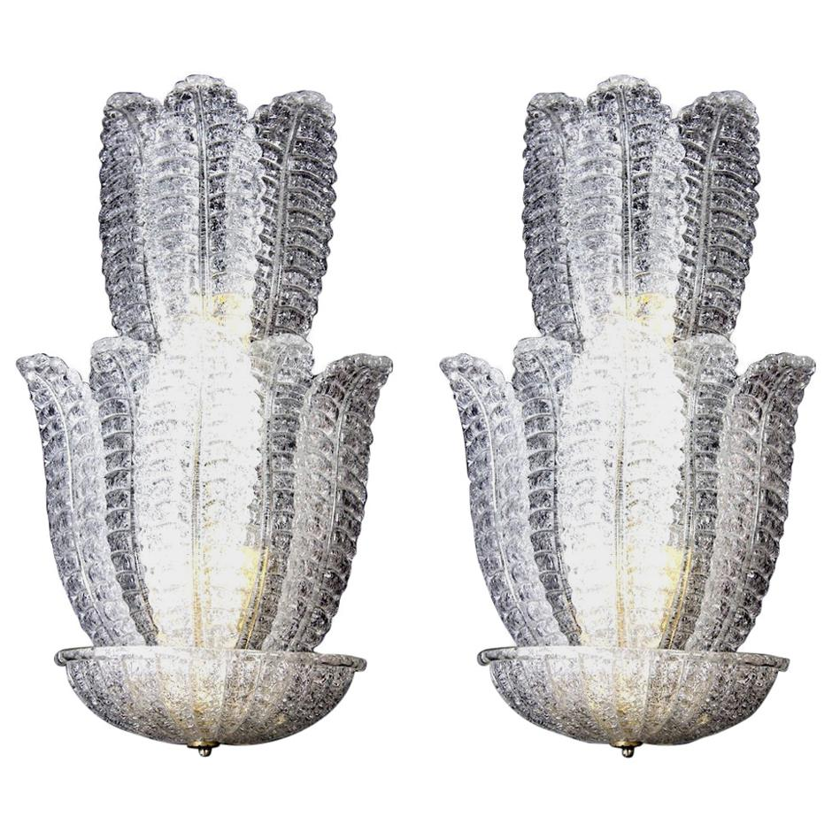 Huge Italian Murano Glass Wall Sconces Attributed to Barovier & Toso, 1970