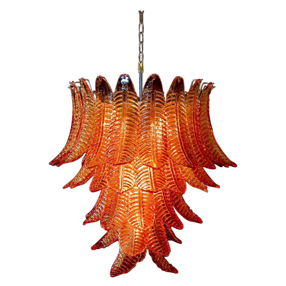 Huge Italian Murano Six-Tier Amber Felci Glass Chandelier