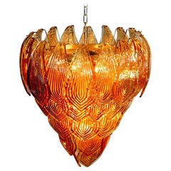 Huge Italian Murano Six-Tier Felci Glass Chandelier, Amber Glasses