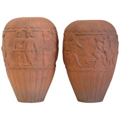 Huge Italian Terracotta Urns, Dancing Putti, Classical, Garden Feature, Pair