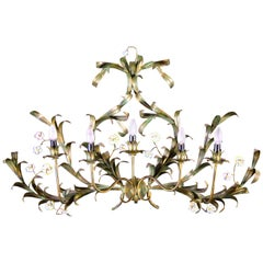 Huge Italian Tole Leaves Wall Light with Colorful Porcelain Flowers 1970