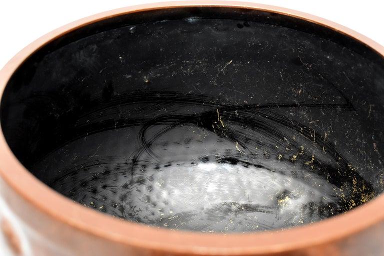 Huge Japanese Antique Bronze Singing Bowl, Copper, Hand-Hammered For Sale 7