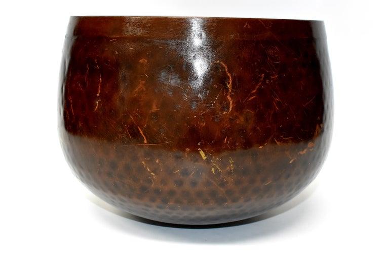 Huge Japanese Antique Bronze Singing Bowl, Copper, Hand-Hammered For Sale 4