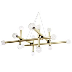 Huge Kalmar Chandelier Pendant Light, Brass Glass, 1970s