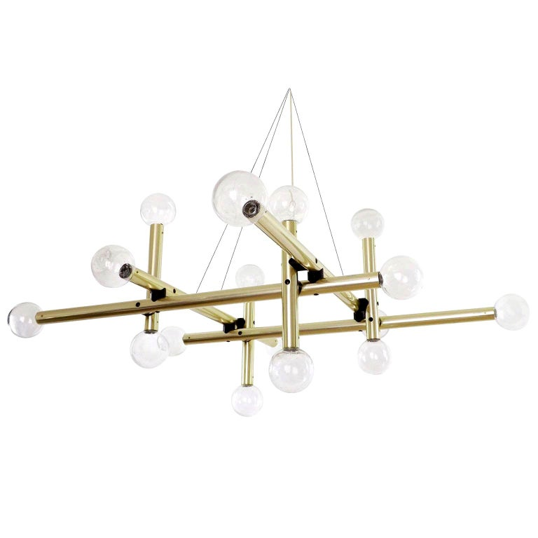 One of  four extremely rare Sputnik or atomic light fixture 'RS 16 HL' by J.T. Kalmar, manufactured in midcentury, Austria, circa 1970 (late 1960s or early 1970s). Only a small number of these large pieces were produced. It is made of a very