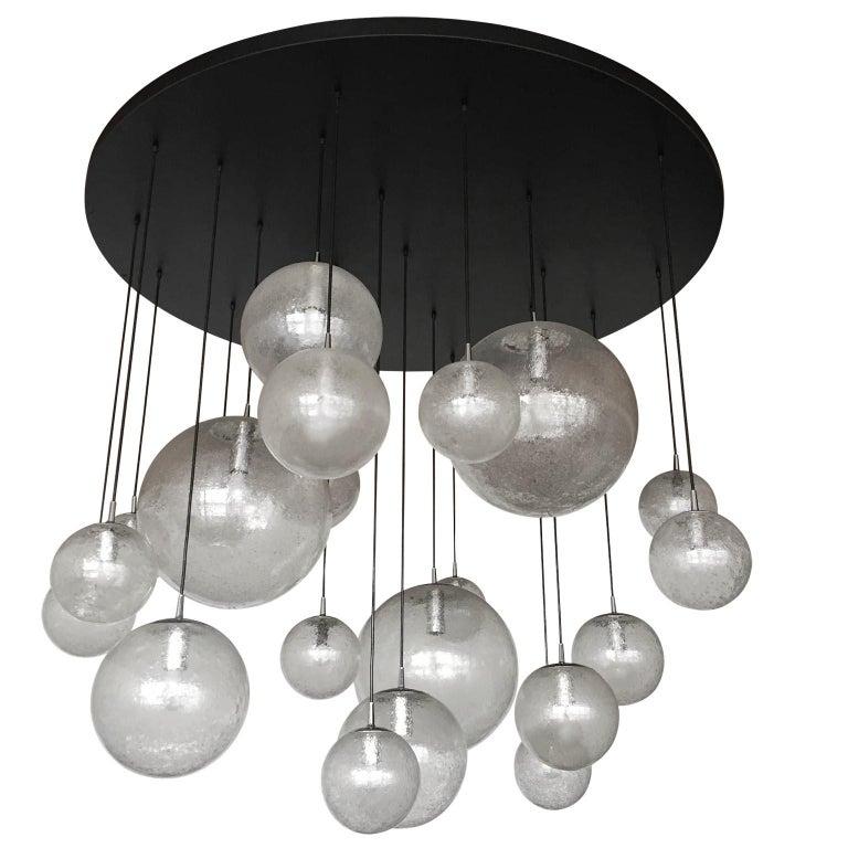 Mid-Century Modern Huge Kalmar Chandelier Pendant Light Fixture, Bubble Glass, 1970s For Sale