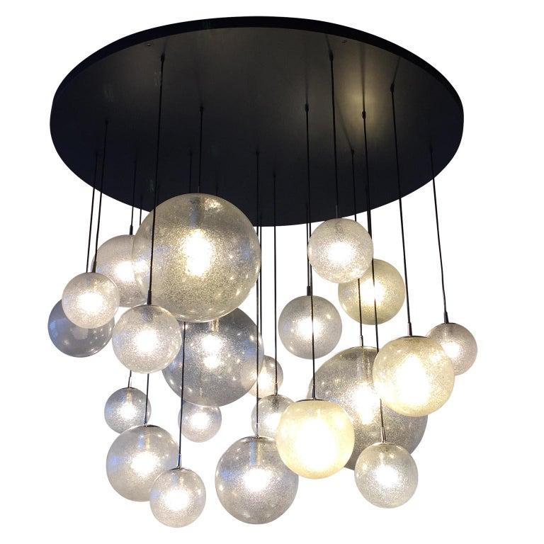 Huge Kalmar Chandelier Pendant Light Fixture, Bubble Glass, 1970s In Good Condition For Sale In Graz, AT