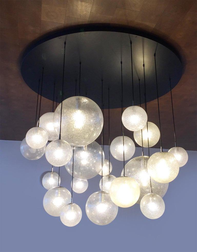 Late 20th Century Huge Kalmar Chandelier Pendant Light Fixture, Bubble Glass, 1970s For Sale