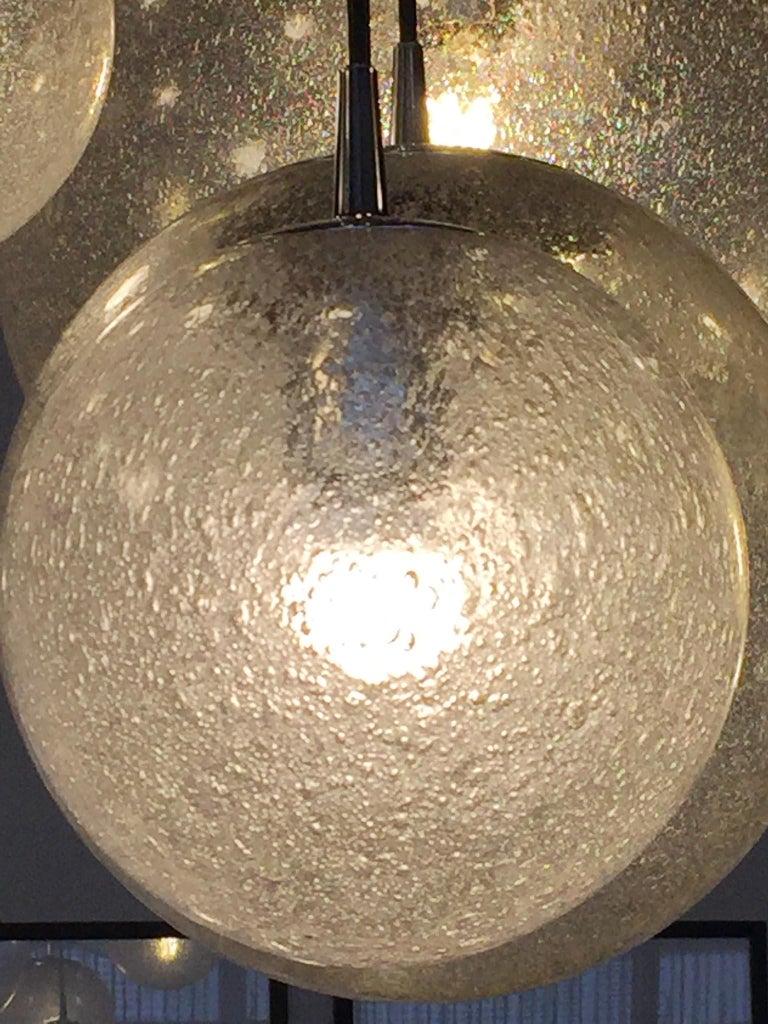 Huge Kalmar Chandelier Pendant Light Fixture, Bubble Glass, 1970s For Sale 1
