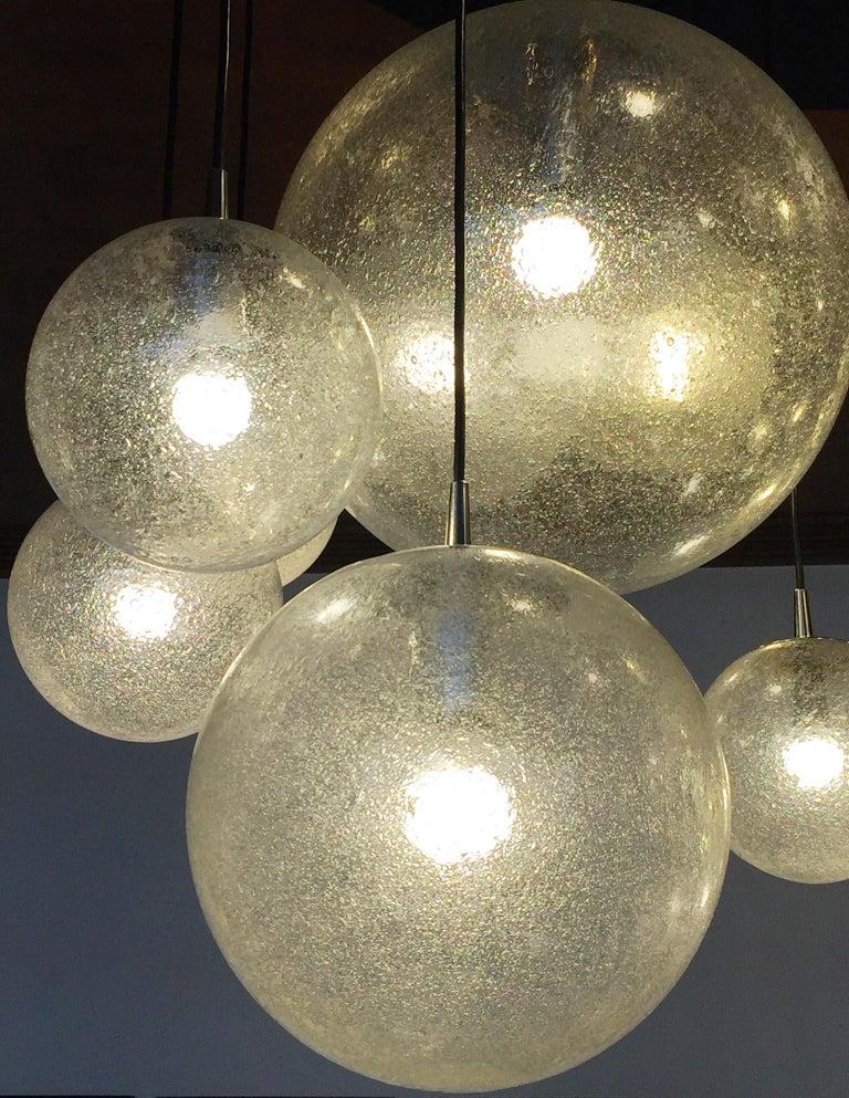 Huge Kalmar Chandelier Pendant Light Fixture, Bubble Glass, 1970s For Sale 2