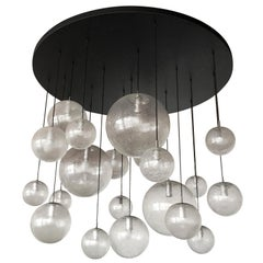 Huge Kalmar Chandelier Pendant Light Fixture, Bubble Glass, 1970s