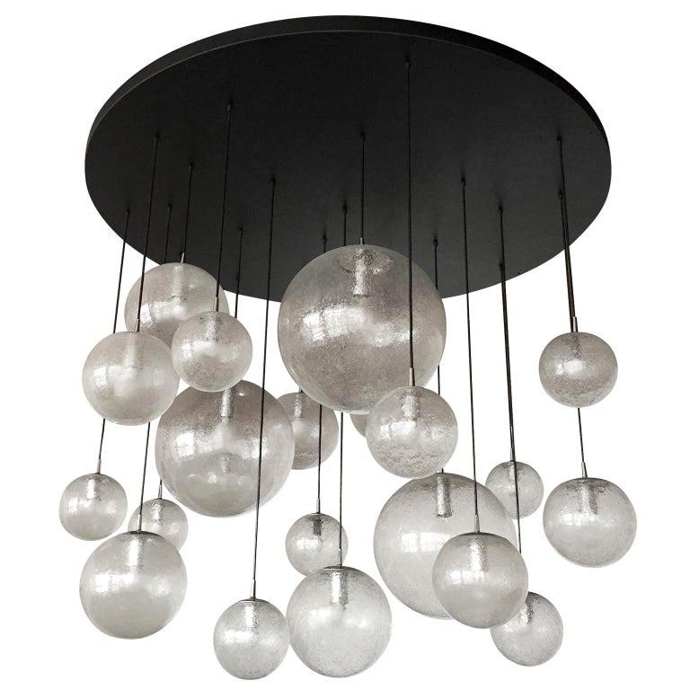 Huge Kalmar Chandelier Pendant Light Fixture, Bubble Glass, 1970s For Sale