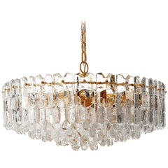 Huge Kalmar Chandelier Pendant Light 'Palazzo', Gilt Brass Glass, Austria, 1970