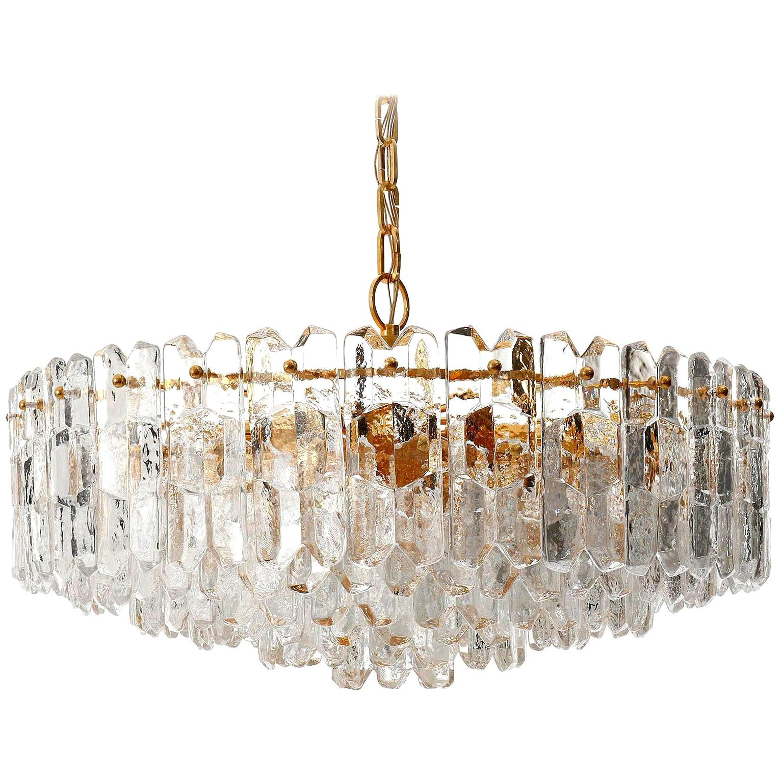 Huge Kalmar Chandelier Pendant Light 'Palazzo', Gilt Brass Glass, Austria, 1970