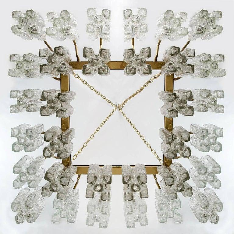 Polished Huge Kalmar 'Granada' Chandelier Flush Mount Light Brass Glass 1970, One of Four For Sale