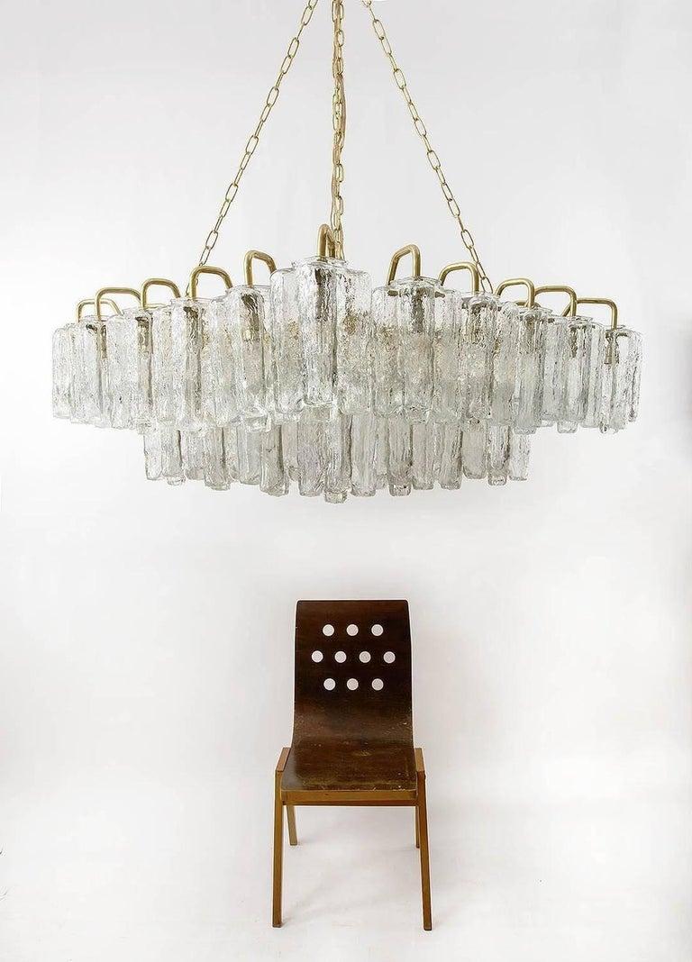Huge Kalmar 'Granada' Chandelier Flush Mount Light Brass Glass 1970, One of Four In Good Condition For Sale In Vienna, AT