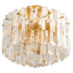 "Huge Kalmar ""Palazzo"" Light Fixture or Flush Mount Gilt Brass and Glass, 1970"