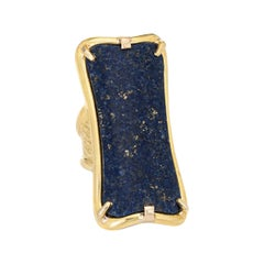 Huge Lapis Lazuli Ring Vintage 18k Yellow Gold Cocktail Jewelry Estate