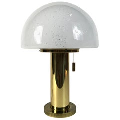Huge Limburg Mushroom Brass Sideboard Lamp, Blown Glass Shade, 1970s, Germany
