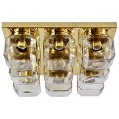 Huge Limburg Vintage Geometric Champagne Toned Glass & Brass Flush Mount