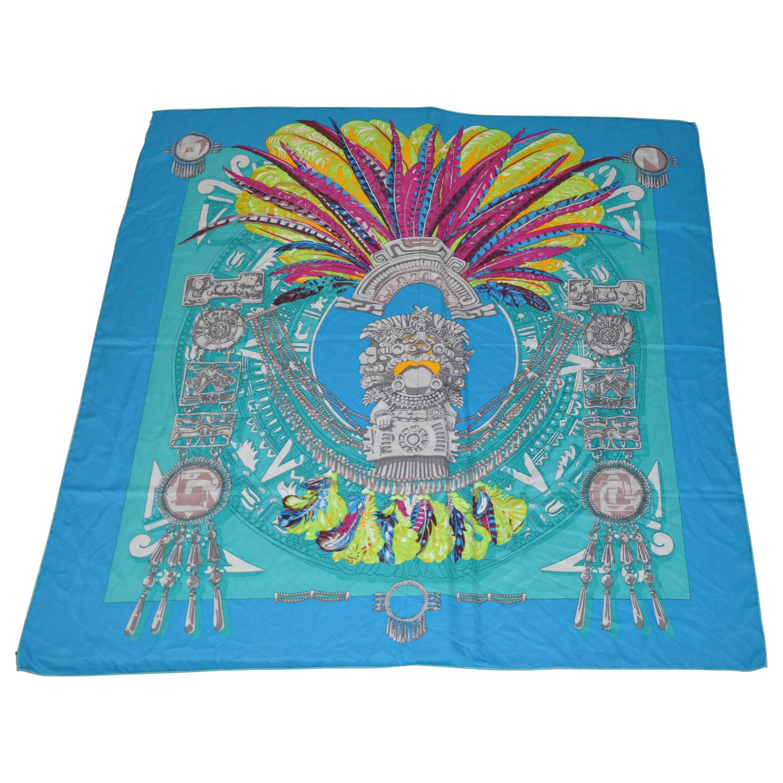 "Huge Magnificently Beautiful ""Inca"" Silk Scarf/Shawl"