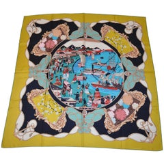 """Huge Majestic Multicolor of """"Colonial Times By The Shore"""" Silk Jacquard Scarf"""