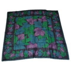 Huge Majestic Shades of Emerald Green & Plum Wool Challis Fringed Shawl