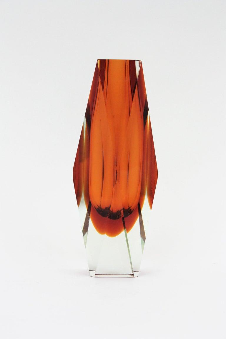 Mid-Century Modern Huge Mandruzzato Murano Faceted Orange Sommerso Glass Vase For Sale