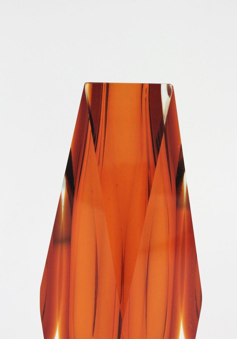 Italian Huge Mandruzzato Murano Faceted Orange Sommerso Glass Vase For Sale