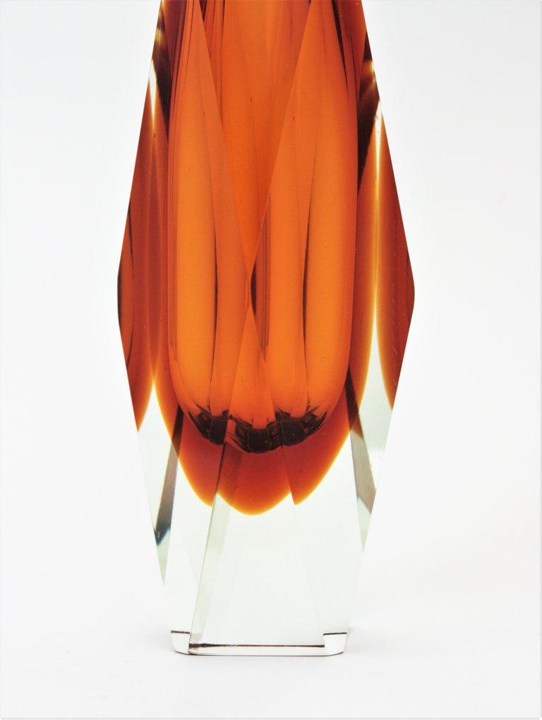 Huge Mandruzzato Murano Faceted Orange Sommerso Glass Vase For Sale 1