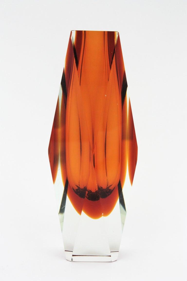 Huge Mandruzzato Murano Faceted Orange Sommerso Glass Vase For Sale 2