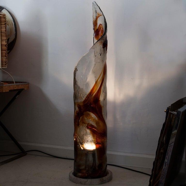 Huge Mazzega Murano Glass Floor Lamp Travertine Base, 1970s For Sale 3
