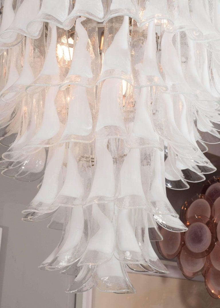 Custom Mazzega (white and clear) glass petal chandeliers in 24