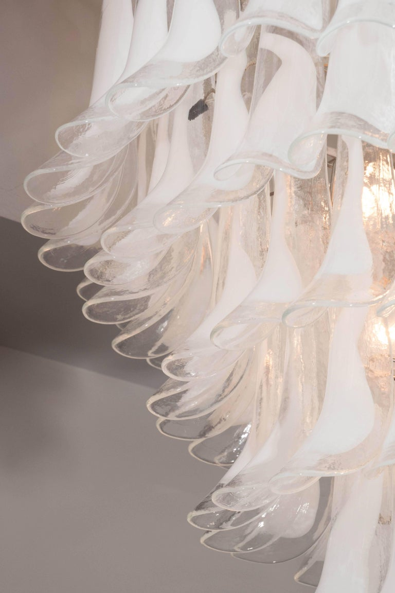 Modern Huge Mazzega White and Clear Glass Petal Chandeliers, 2 of 2 (Remaining Balance)