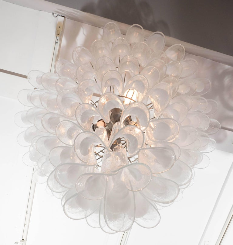 Contemporary Huge Mazzega White and Clear Glass Petal Chandeliers, 2 of 2 (Remaining Balance)