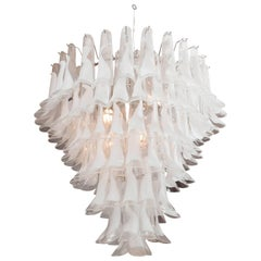 Huge Mazzega White and Clear Glass Petal Chandeliers, 2 of 2 (Remaining Balance)