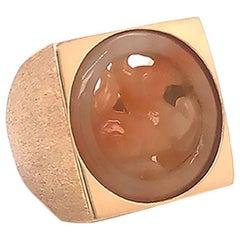Huge Men's Carved Jade Ring in 14 Karat Yellow Gold